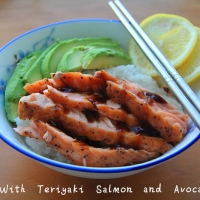 Rice with Teriyaki Salmon and Avocado